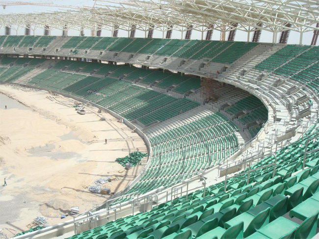 Construction stadium green seats