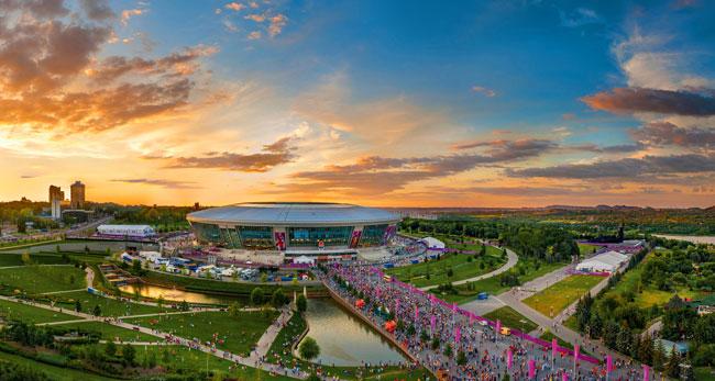 Stadium sunset with crowd